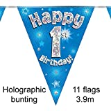 Happy 1st Birthday Blue Holographic Foil Party Bunting 3.9m Long 11 Flags