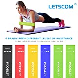 LETSCOM Resistance Loop Bands, Exercise Bands for Strength Training, Physical Therapy, Home Gym Fitness Exercise, Yoga, Rehab, Workout Elastic Loop Band with Carry Bag for Women Men,Sets of 6