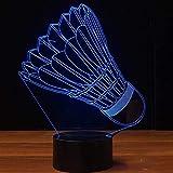 Lampada da modellazione 3D Badminton a LED Luce Notturna Accanto alla Lampada da Tavolo 7 Colori Cambio Automatico Touch Switch Desk Decoration Lampade Regalo di Compleanno Natale