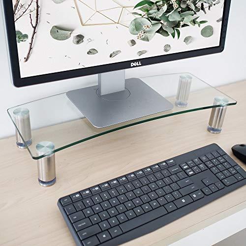 Monitorständer für Schreibtisch - höhenverstellbar - Bildschirmerhöhung für Computer, Laptops und Fernseher - schwarzes gebogenes Glas mit Aluminiumbeinen - 56 x 24 cm - Glas-funktionale Computer-schreibtisch