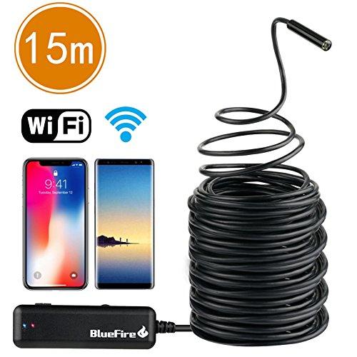 Preisvergleich Produktbild BlueFire Kabelloses Endoskop WiFi Inspektionskamera Halbsteife Kabel Wasserdichte mit 2,0 Megapixel 720P HD 6 Einstellbare LED Licht für iPhones(Oben IOS6) / Android Handys / iPads / Tablet PC(15M)