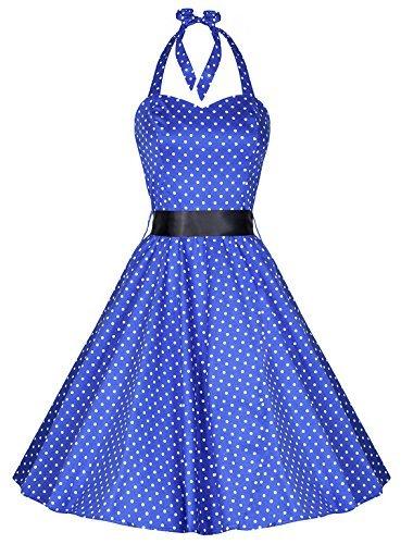 Pretty Kitty Fashion 50s Polka Dot Blue Vintage Swing Prom Pin-Up Dress