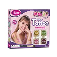 Glamorous Glitter Tattoos Kit for Girls with 35 amazing stencils - HYPOALLERGENIC AND CRUELTY FREE - 8-18 lasting temporary tattoos