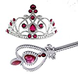 IEUUMLER Prinzessin Tiara & Wand Set 2 Stück Geschenk-Set mit Strass Crown HG001 (Rose Red)