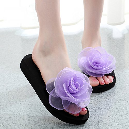 Estate Sandali 3cm / 7 centimetri femminili pistoni di estate spessi donne inferiori pistoni freddi Nuove scarpe da spiaggia moda (blu / nero / arancio / viola) Colore / formato facoltativo 3CM-Purple