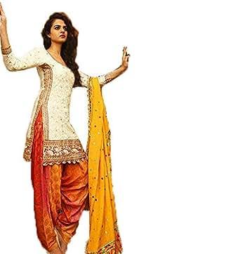Clothfab Women's Pure Cotton White & Multi Designer Patiala Semi-Stitched Salwar Suit Dress Material With Dupatta