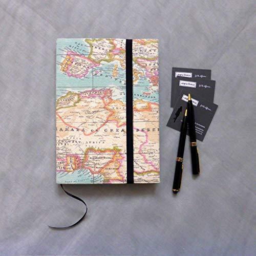 Notizbuch A5 Tagebuch Reise Skizzenbuch, Stoffhülle Weltkarte Atlas hellblau pink, von wagnerstrasse