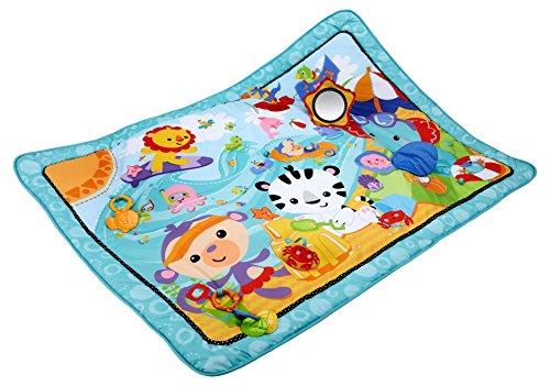 Preisvergleich Produktbild Fisher-Price CBJ65 Große Spiel- und Krabbeldecke mit Tiermotiven und Babyspielzeug, 1 x 1.50 m, blau