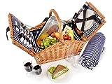 Sänger Picknickkorb 'Sylt' aus Weide | Hochwertiger Weidenkorb mit Picknickdecke und integrierter Kühltasche für 4 Personen | 24 teilig | Volumen der Kühltasche 15 L |...