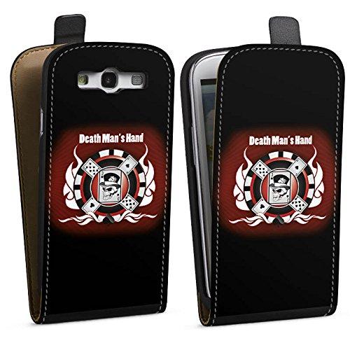 DeinDesign Tasche kompatibel mit Samsung Galaxy S3 Flip Case Hülle Karten Cards Totenkopf -