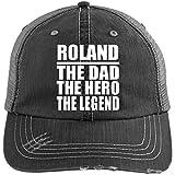 Roland The Dad The Hero The Legend - Distressed Trucker Cap Black/Grey / One Size, Auf Alt Getrimmt Trucker Kappe Golfkappe Baseballmütze Baseballkappe, Geschenk für Geburtstag, Weihnachten