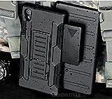 Cocomii Robot Armor Sony Xperia M4 Aqua Funda [Robusto] Funda Clip para Cinturón Soporte Antichoque Caja [Militar Defensor] Cuerpo Completo Case Carcasa for Sony Xperia M4 Aqua (R.Black)