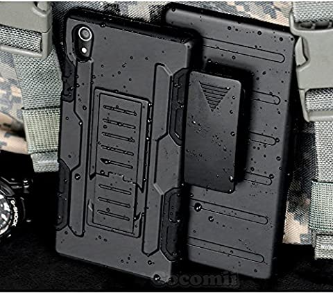 Sony Xperia M4 Aqua Coque, Cocomii Robot Armor NEW [Heavy Duty] Premium Belt Clip Holster Kickstand Shockproof Hard Bumper Shell [Military Defender] Full Body Dual Layer Rugged Cover Case Étui Housse (Black)