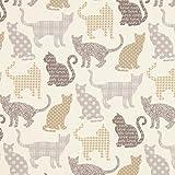 Fabulous Fabrics Cretonne Katzen Chipie – Creme/grau — Meterware ab 0,5m — Oeko-Tex Standard 100 — zum Nähen von Kissen und Tagesdecken, Tischdekorationen und Vorhängen