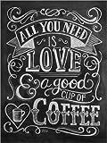 Posterlounge Alu Dibond 100 x 130 cm: Alles, was Du Brauchst, ist Kaffee von Lily & Val/MGL Licensing