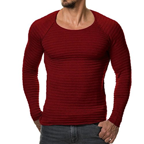 YunYoud Herren Tops Männer Einfarbig Lange Ärmel Tops O-Hals Slim Fit Bluse Herbst Winter Beiläufig Stricken Sweatshirt Mode Draussen Sport Hemd (XXL, Rot)