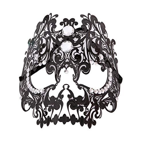 MOONQING Masquerade Masks Karnevalsmaske Halloween Kostüm Party Schädel Metallmaske Mardi Gras Maske, schwarz
