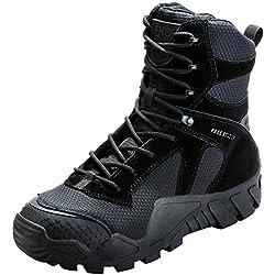 FREE SOLDIER Hombres Militares High-Top Zapatos táctico Senderismo Botas Cordones Trabajo Combate Todos los terrenos Botas Resistente al Agua 3 Colores, Negro, 47 EU
