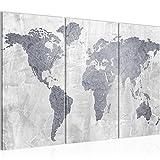 Bilder Weltkarte World Map Wandbild 120 x 80 cm Vlies - Leinwand Bild XXL Format Wandbilder Wohnzimmer Wohnung Deko Kunstdrucke Grau 3 Teilig -100% MADE IN GERMANY - Fertig zum Aufhängen 104331c