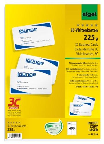 Preisvergleich Produktbild Sigel LP799 Visitenkarten 3C, 400 Stück (40 Blatt), hochweiß, glatter Schnitt rundum, mit abgerundeten Ecken, 225 g, 85x55 mm - weitere Stückzahlen