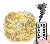 200/300er LED Mikro Silberdraht Lichterkette Strombetrieb Deko für Innen Außen Warmweiß gresonic (8 Modi Timer Dimmbar, 300LED)