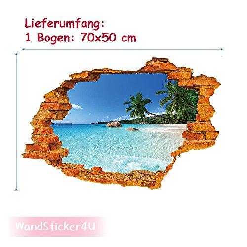 wandsticker4u-3d-efecto-vinilos-decorativos-la-isla-del-paraiso-tatuajes-de-pared-50x70-cm-cielo-azu