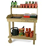 Christow Wooden Plant Flower Potting Greenhouse Staging Table Bench with Wheels