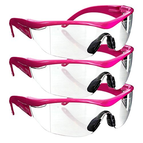 Safety Girl Navigator Safety Glasses (3 Pair-Pink Frame-Clear Lense) by SafetyGirl