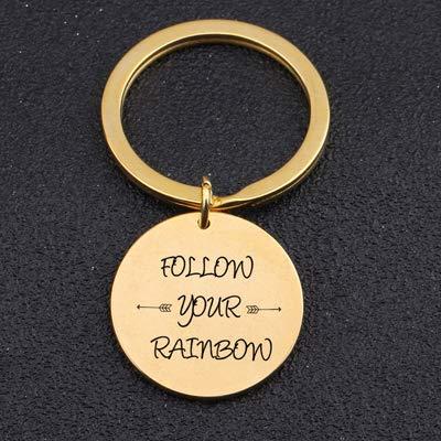 low Your Rainbow Schlüsselanhänger Inspirational Schmuck Keep Dream Männer Frauen Emporhebender Schlüsselring Für Freunde Schwestern Geschenk Tasche Charme Gold ()