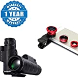 Captcha Panda Night Vision Adjustable Zoom Binoculars Telescope With 3 In 1 Mobile Camera Lens & Wide, Macro, Fish-Eye Lens Compatible With All Smartphones (One Year Warranty)