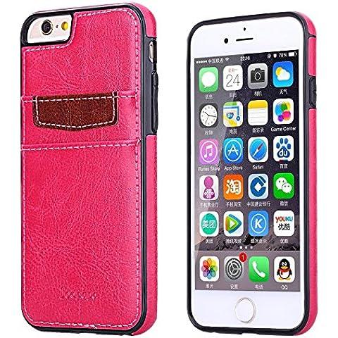 Ducomi® Duke of Palma custodia protettiva con tasca porta carte di credito in vera pelle compatibile con iPhone 6 6s (Pink)