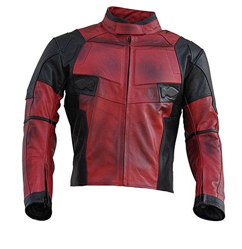 College Superhelden Kostüm - Classyak Lederjacke im Deadpool-Stil, hochqualitatives Echtleder Gr. XXXXX-Large, Cow Fire Red