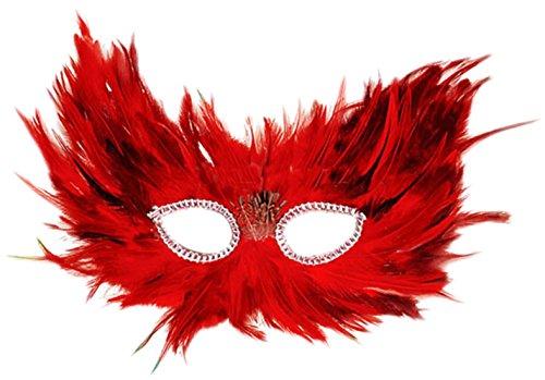 Vampir-schädel-maske (erdbeerclown- Damen Feder Maske, Maskenball, Maskerade, Kostümball, Rot-Schwarz)