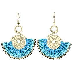 Chic-Net pendientes de bronce de oro hilos boho étnico espiral tapa de cerámica azul