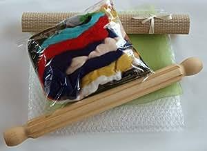 Kit de feutrage humide B, y compris le rouleau strié et laine 100g par Corina's Curious Creations