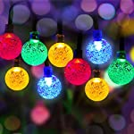 iihome Solar Garden Lights, 60 LED 36ft Waterproof Outdoor String Lights Solar Powered Crystal Ball Decorative Lights…