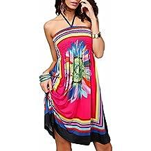 7cb1f6c111bee Landove Vestito Corto Floreale Boho Hippie Abito Senza Maniche Donna Etnico  Tribale Sexy Casual Elegante Abiti