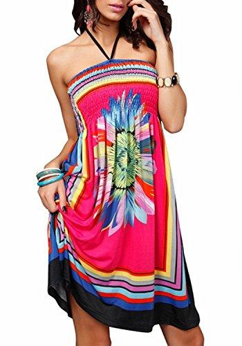 Landove vestito corto floreale boho hippie abito senza maniche donna etnico tribale sexy casual elegante abiti da spiaggia cocktail cerimonia