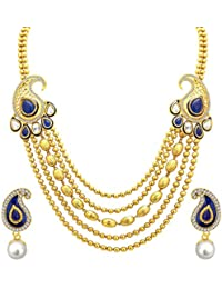 Sukkhi Ritzy Five String Gold Plated Necklace Set For Women