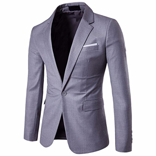Xsiapas Vestito Casual Da Uomo Con Un Bottone Slim Fit Giacche Blazer Di Colore Solido Grigio chiaro