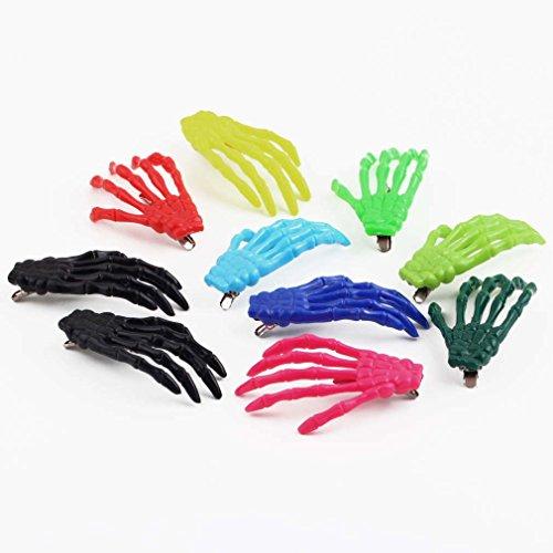 ulable 10PCS Cute Creepy Kunststoff Skelett Hand Haar Clip Haarspange für Frauen Mädchen
