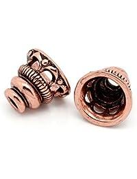 Housweety Bijoux Accessoires 10 Coupelles pr Perle Filigrane Cuivre rouge 10x9mm (Pr perle 18mm)