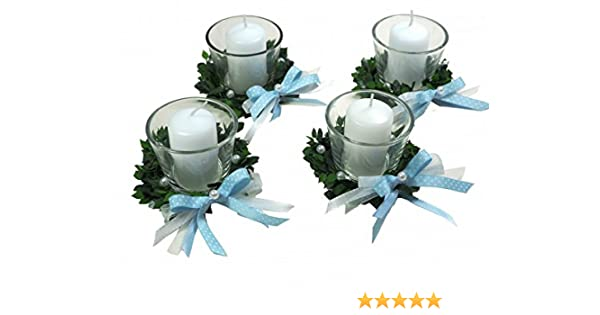 4er SET Kerze Votivglas Kerzenring Hellblau Junge Kommunion Taufe Tischdeko Geburt Kerzendeko