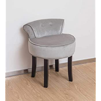 Charmant Other Grey Chenille Vanity Stool With Black Legs Bedroom Dressing Table  Chair