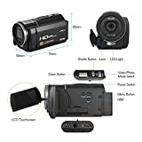 Docooler Andoer Digital Video Camera HDV-F5 1080P Full HD DV Recorder Camcorder 24MP 16X Digital Zoom 3.0 Inch Rotatable LCD Touchscreen Anti-Shake with Remote Controller Battery
