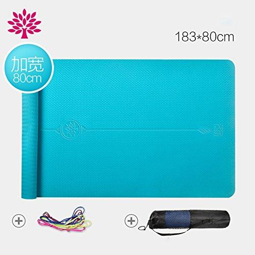 Geschmacklose Tpe Yoga Matte Verlängerung 80 Cm Yogamatte Echte Dicke Rutschfeste Anfänger Fitness-Matte,Spielerisches Blau,183 cm × 80 cm
