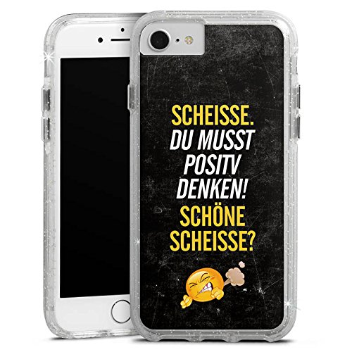 Apple iPhone X Bumper Hülle Bumper Case Glitzer Hülle Funny Lustig Sayings Bumper Case Glitzer silber