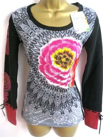 Desigual - Top à manches longues -  - Bustier Femme -  - GREY BLACK PINK - 38