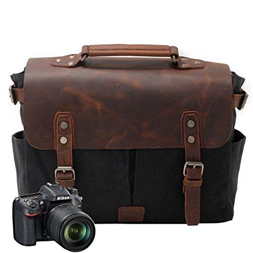 Neuleben Kameratasche Vintage Wasserdicht Canvas Leder Fototasche für DSLR Objektiv Shultertasche Aktentasche Multifungktion (Schwarz)