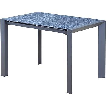 Meubletmoi Table Extensible en Verre Gris Style Pierre Ardoise 110 ...